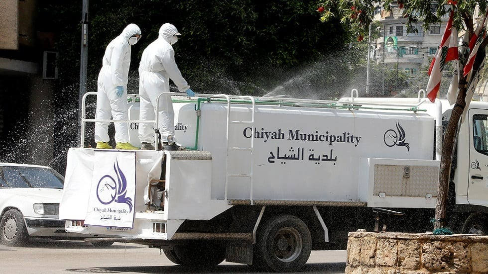 Health workers sanitizing the streets of Beirut, Lebanon