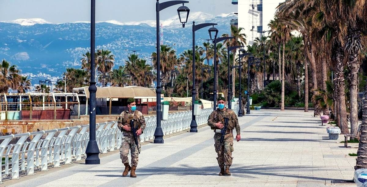 Lebanese Army soldiers patrolling corniche during coronavirus outbreak in Lebanon