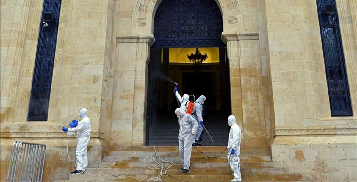 Lebanese medical team sterilizing the parliament