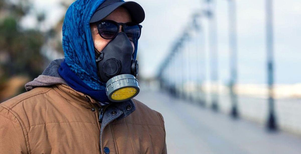 Lebanese man wearing gas mask during coronavirus outbreak in Lebanon