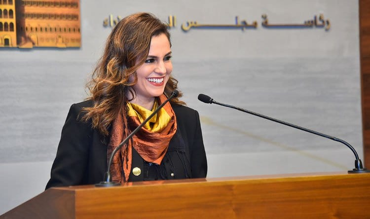 Minister Manal Abdel Samad speaking after a cabinet session