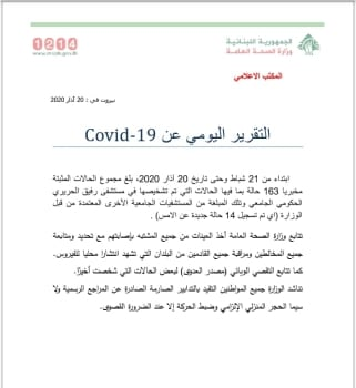 Ministry of Public Health March 20th coronavirus report