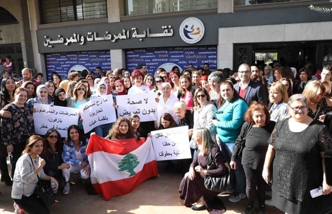 Order of Nurses in Lebanon protesting bad working conditions