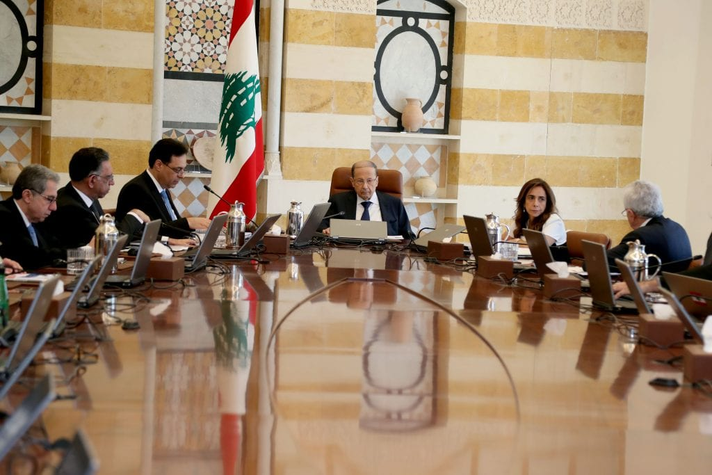 President Michel Aoun heads a cabinet session in Baabda