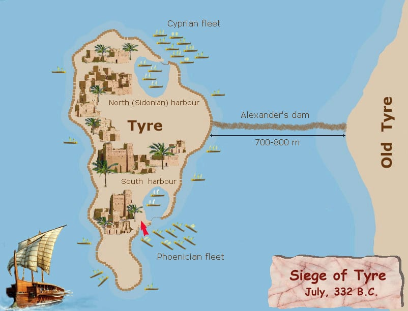Map of the Siege of Tyre