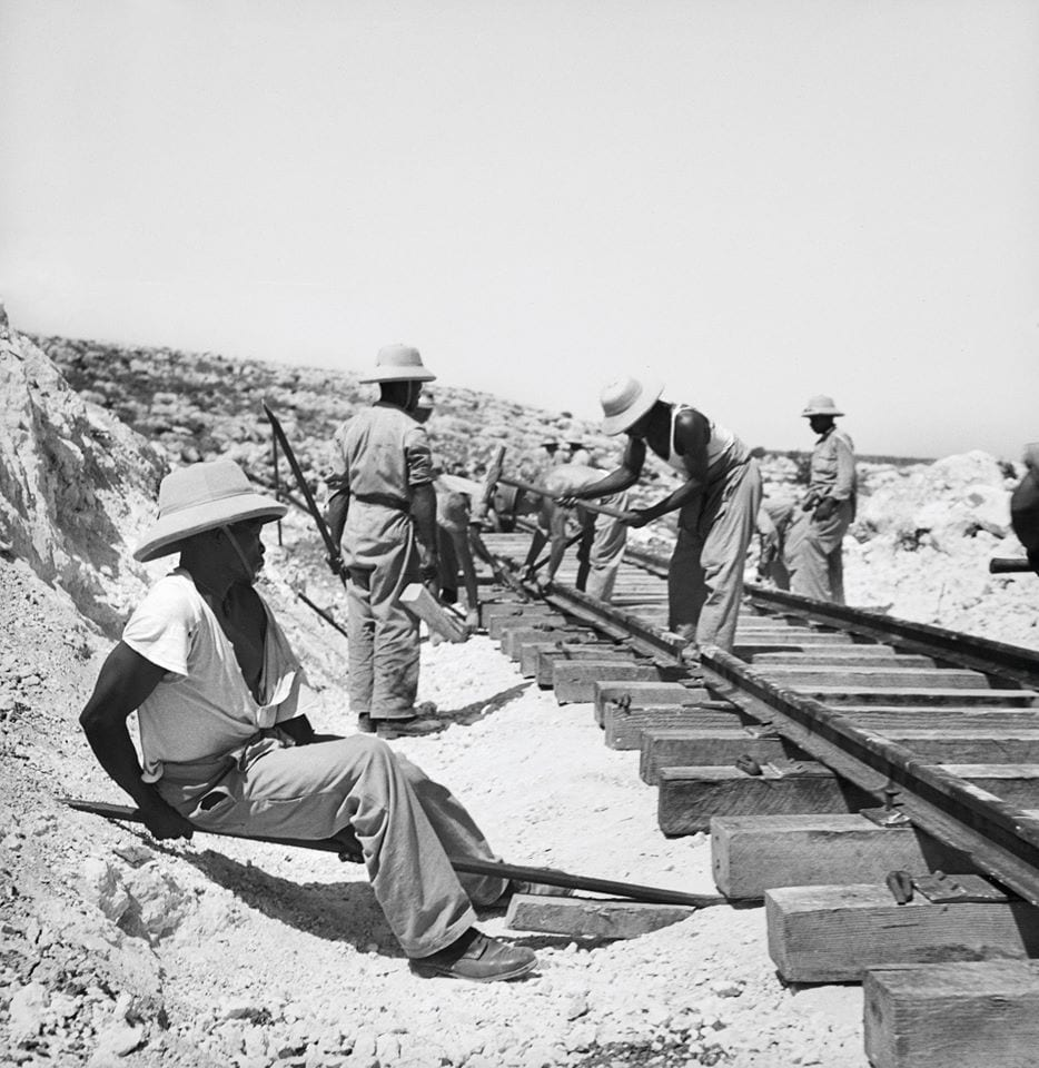 South African workers building the railway line in Lebanon