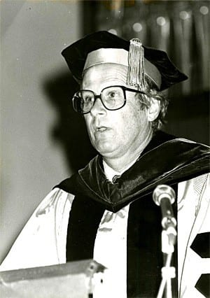 Malcolm H. Kerr speaking at graduation