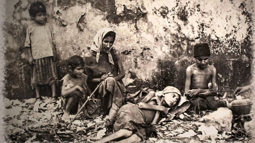 An image showing a starving family during the Great Famine of MOunt Lebanon