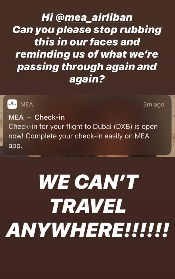 MEA is notifying people about flights