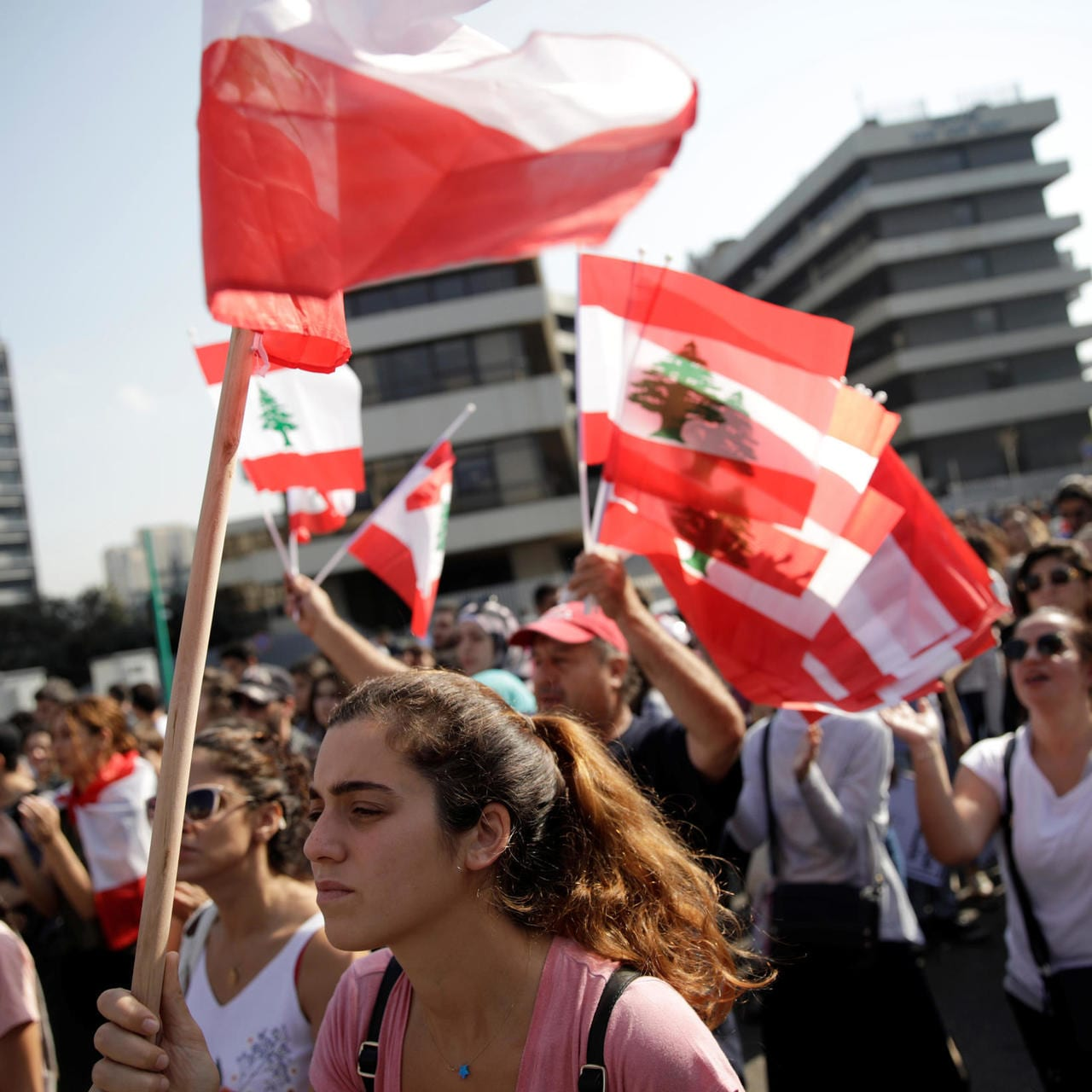 Lebanese students in a protest