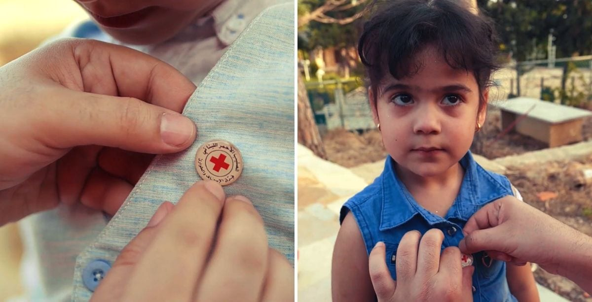 Lebanese Red Cross pins on Rida Fakhreddine's and his sister's shirts