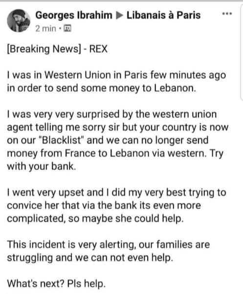 Western Union/OMT denied that Lebanon was blacklisted