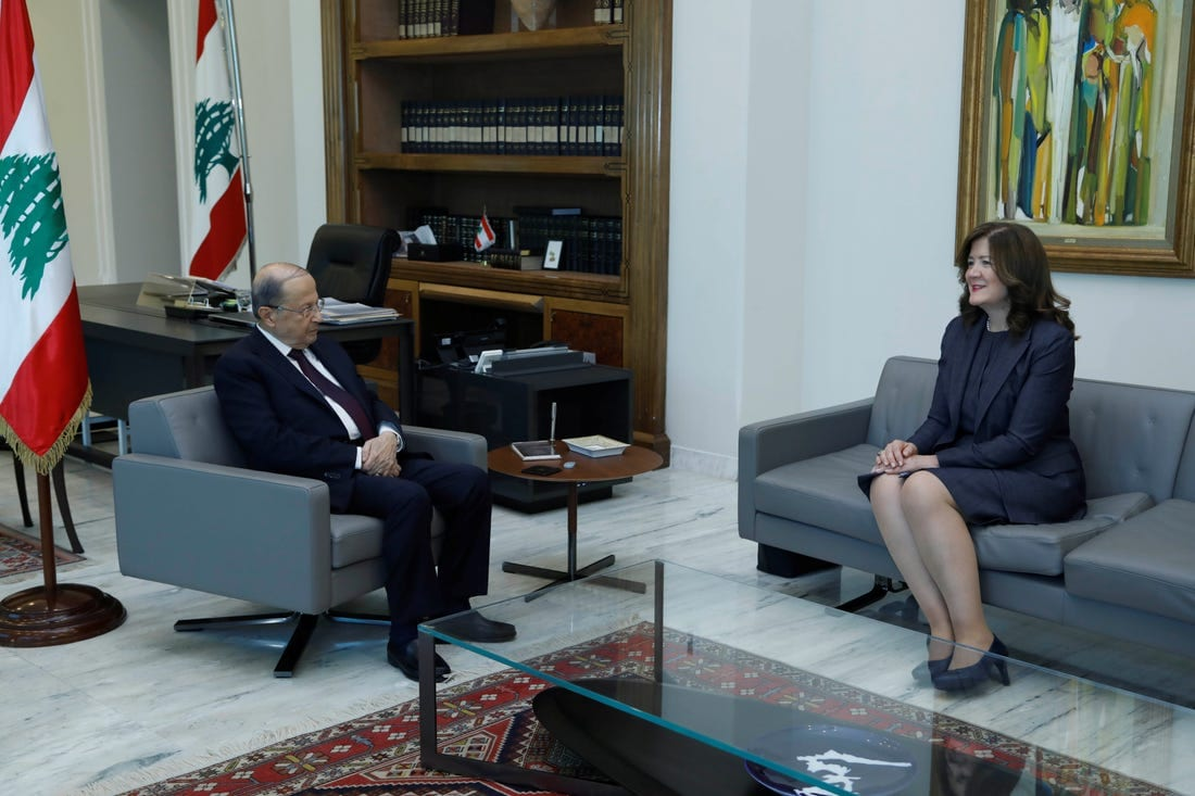 President Michel Aoun meeting with U.S. Ambassador Dorothy Shea