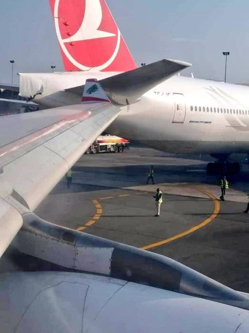The MEA plane's winglet clipped the back of the Turkish airliner