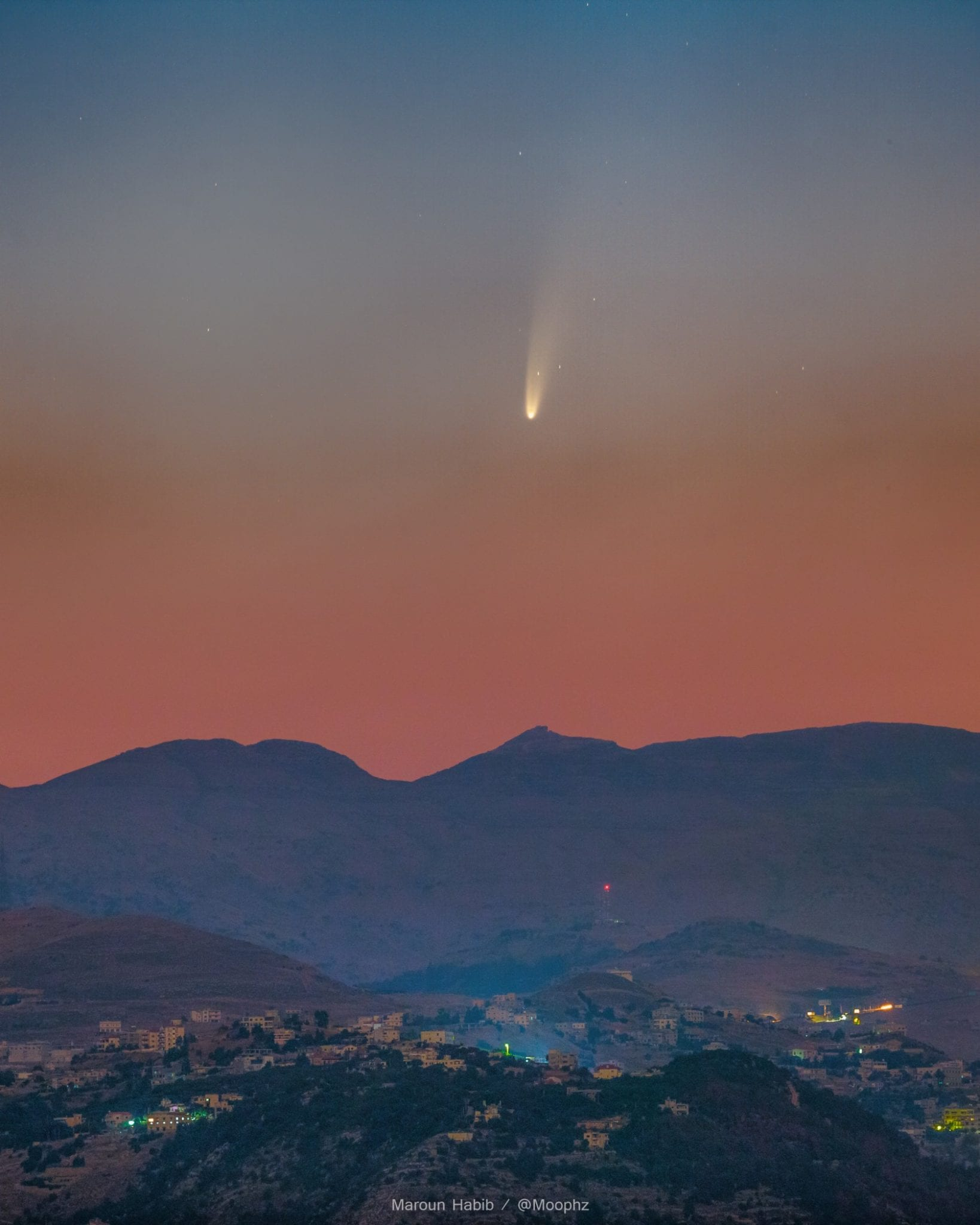 Comet NEOWISE captured over Lebanon