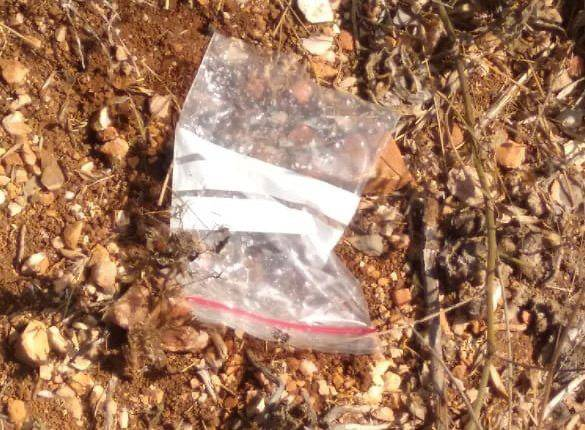 The plastic bag that was dropped by one of the Israeli drones into Lebanese territory