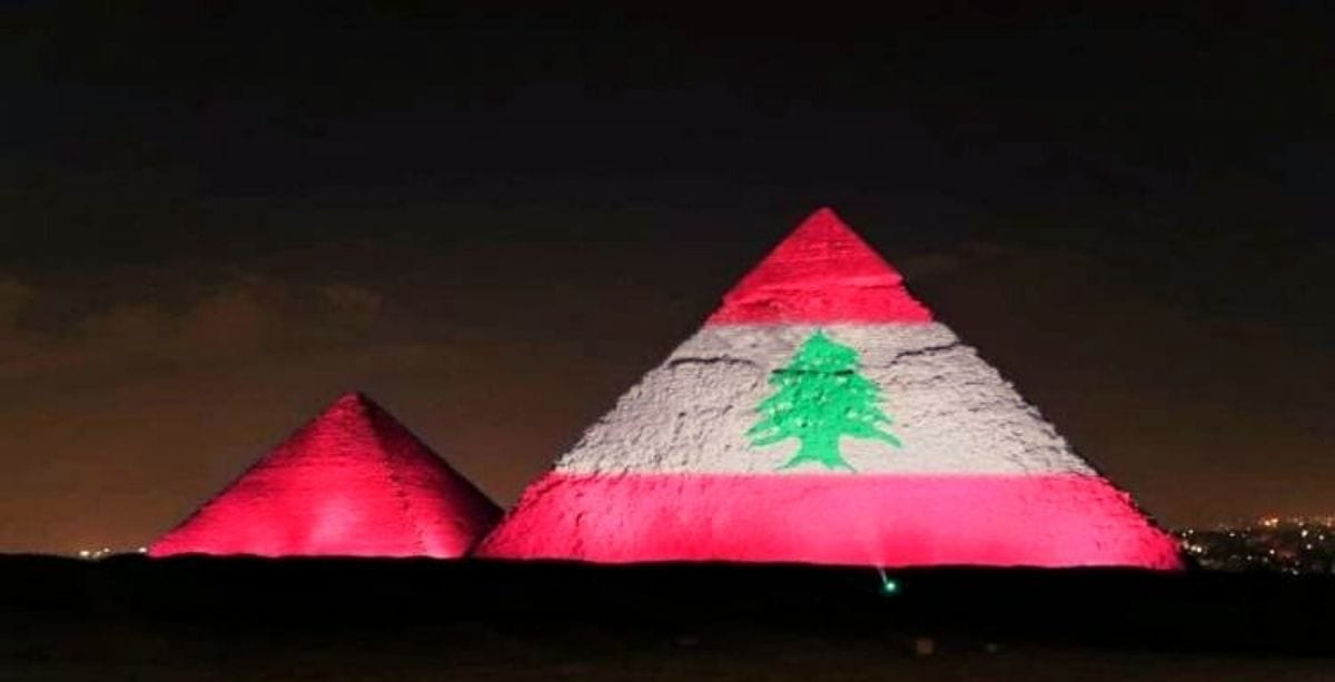 Egypt Just Lit Up The Pyramids With The Lebanese Flag