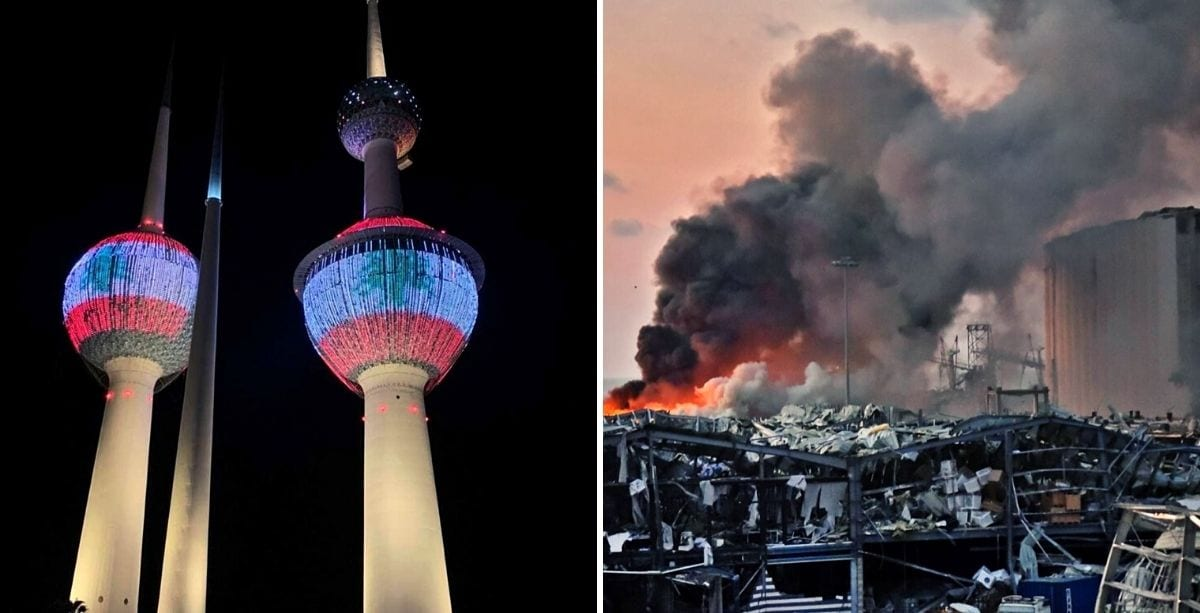 Kuwait Towers Light Up With Lebanese Flag To Show Support