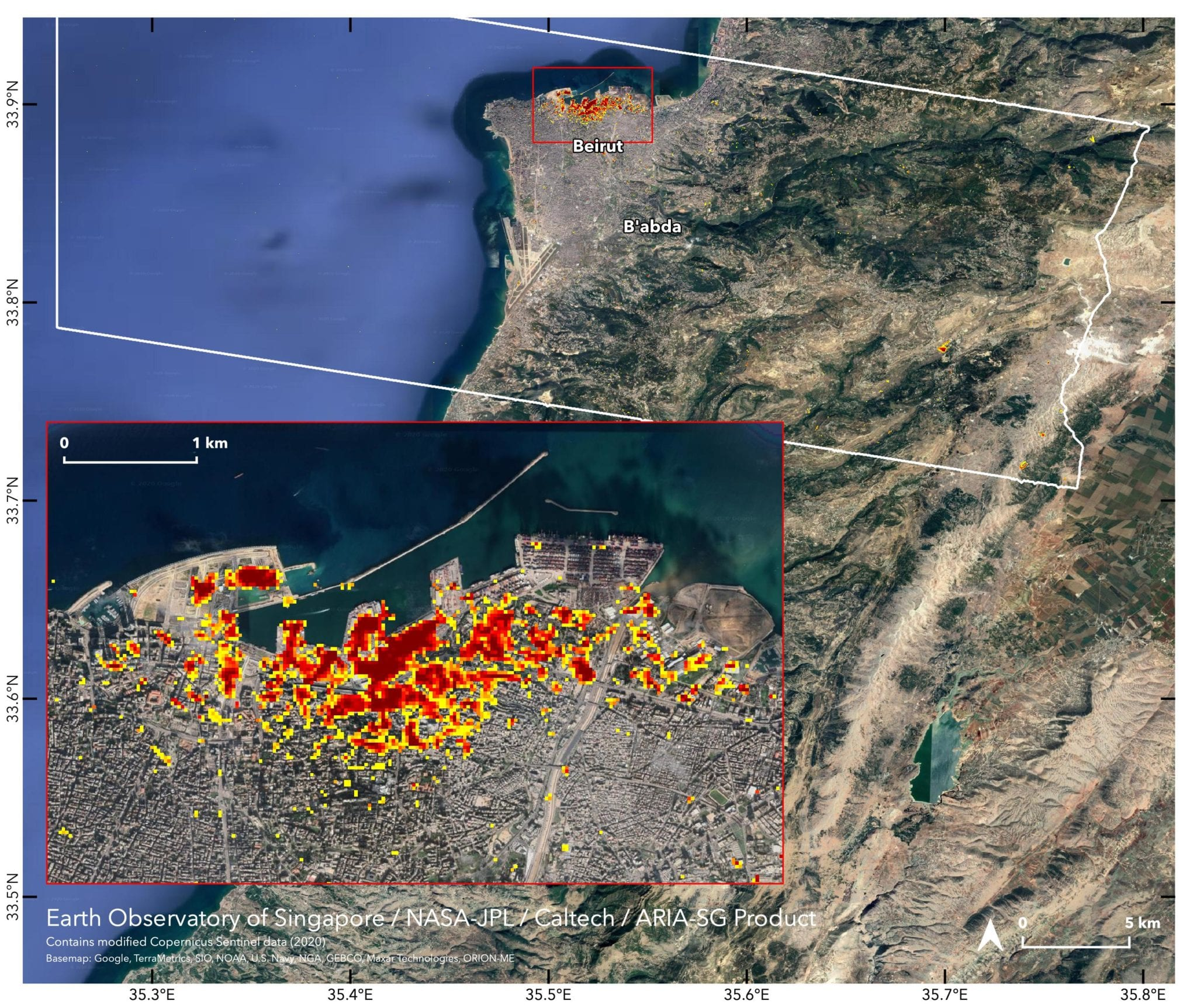 NASA maps damage from Beirut explosion