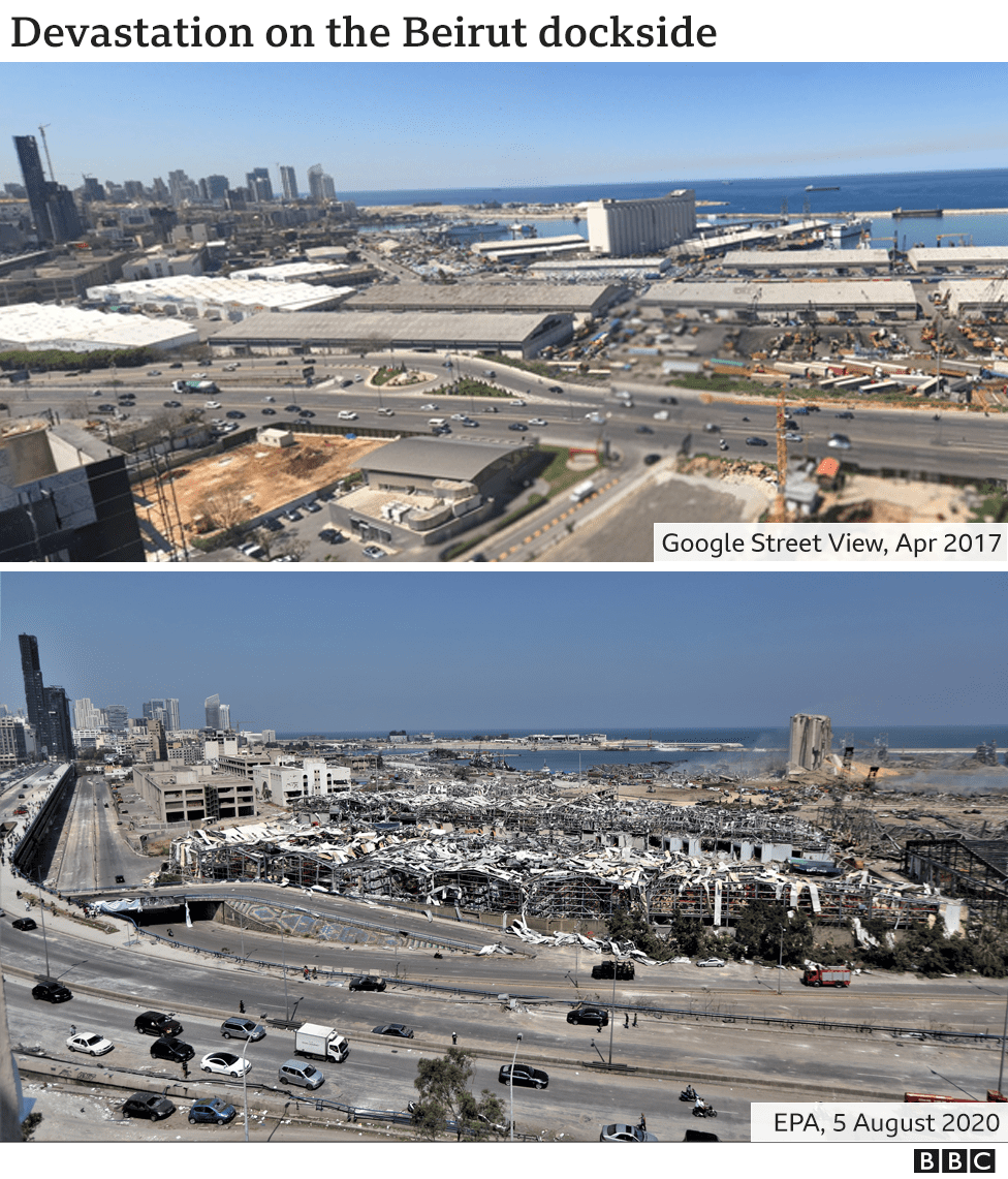 The Beirut dockside before and after explosion