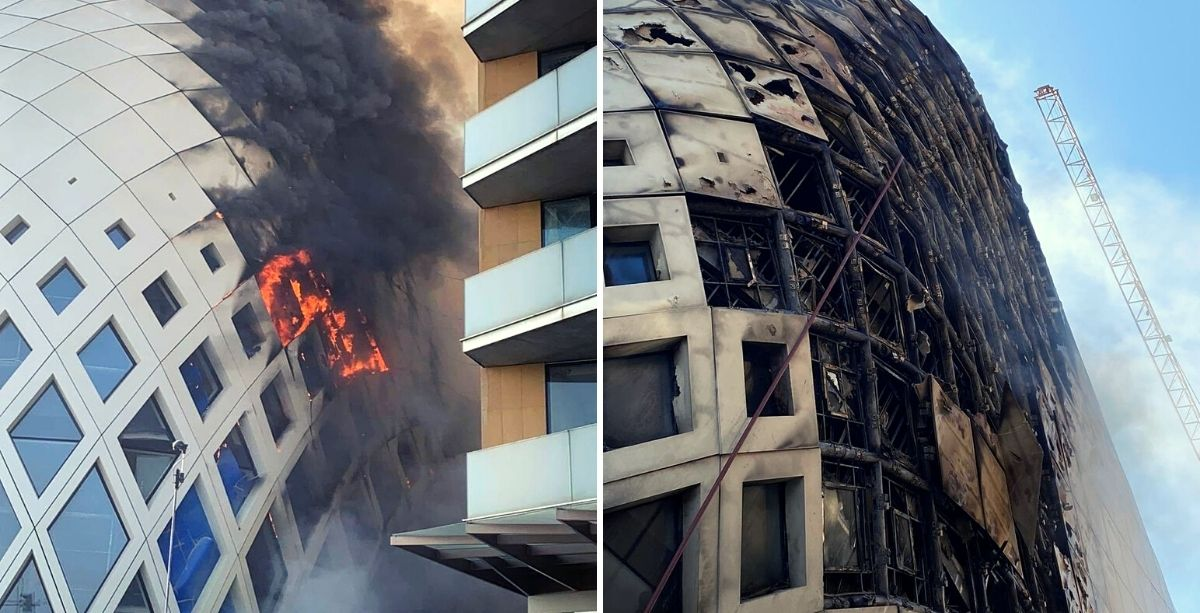 A Fire Broke Out At The Zaha Hadid Building In Downtown Beirut
