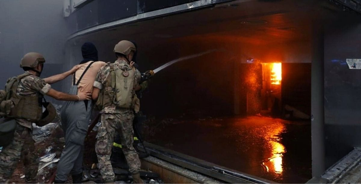 Annahar Building Set On Fire During Beirut Protests