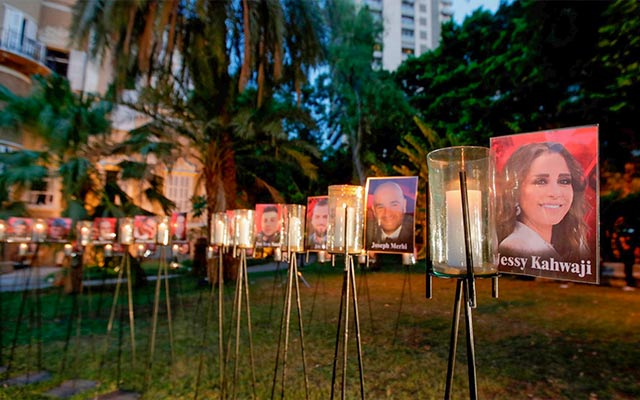 The portraits and names of the Beirut explosion victims.