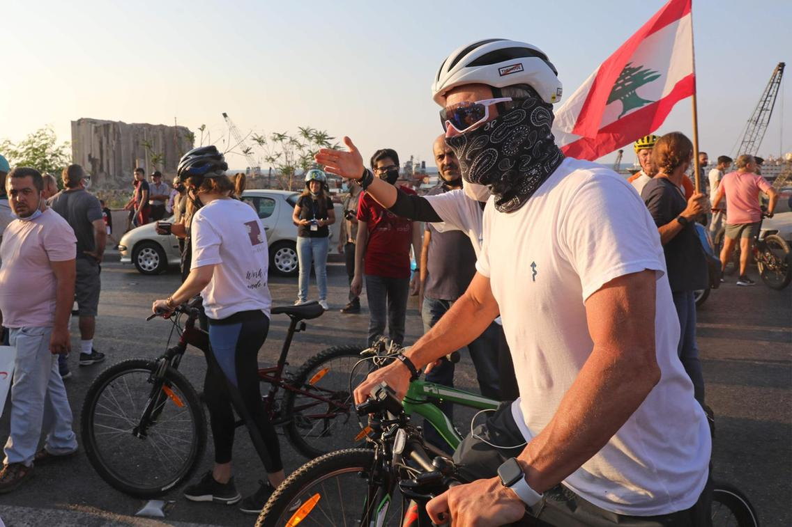 Lance Armstrong near the devastated Beirut Port