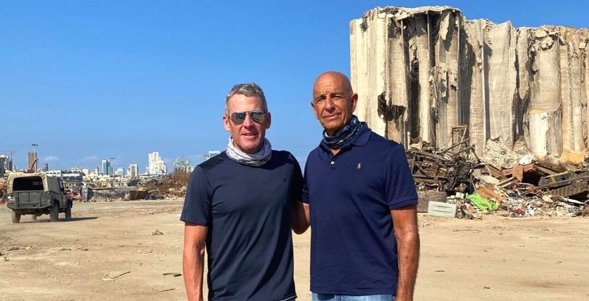Legendary Cyclist Lance Armstrong Toured Beirut In Support Of The Blast Victims