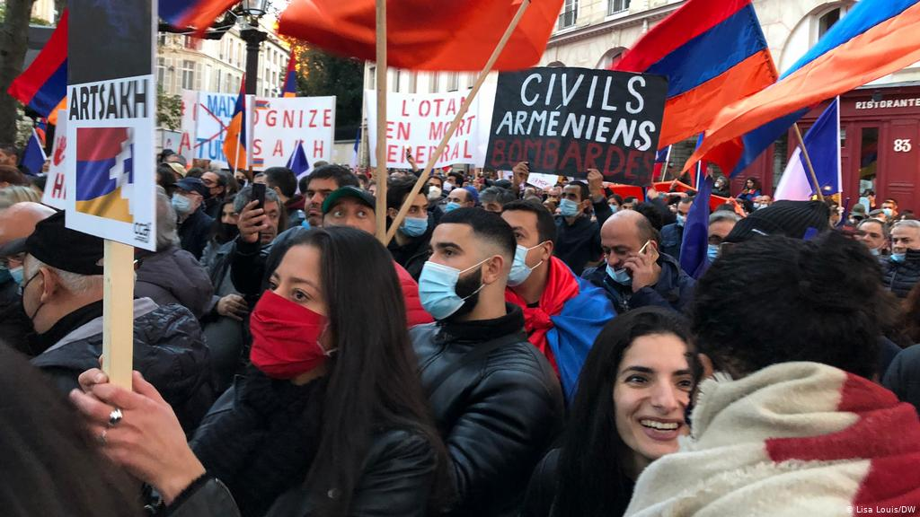 Armenians hold a protest calling for the recognition of the self-declared Republic of Artsakh.