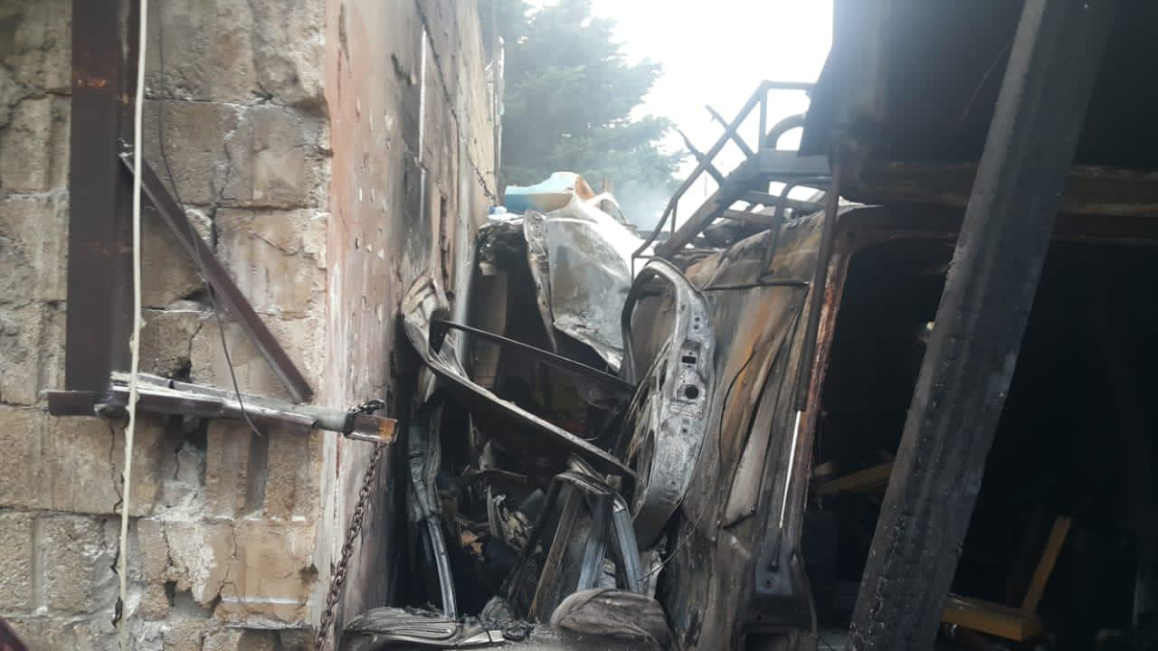 The car that exploded in Tariq El-Jdideh on Monday.