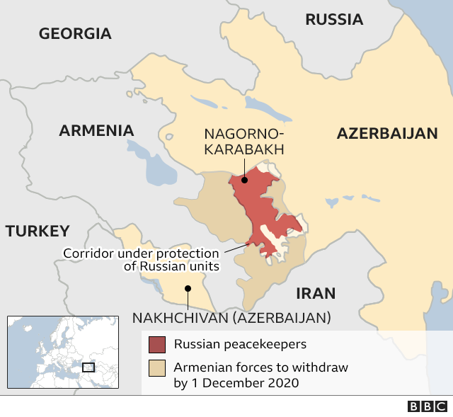 Map illustrating the changes in Nagorno-Karabakh following the recent ceasefire agreement.