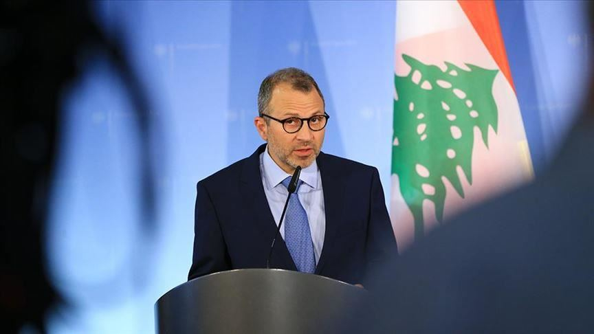 Gebran Bassil during a press conference.