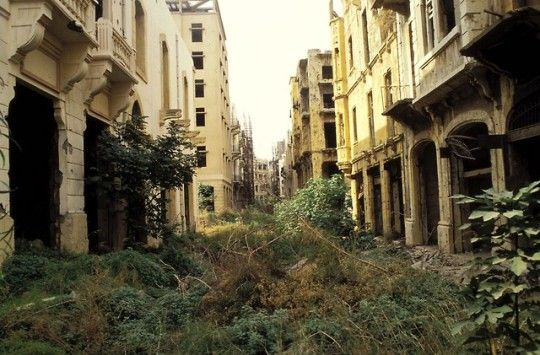The demarcation zone of the Lebanese Civil War.