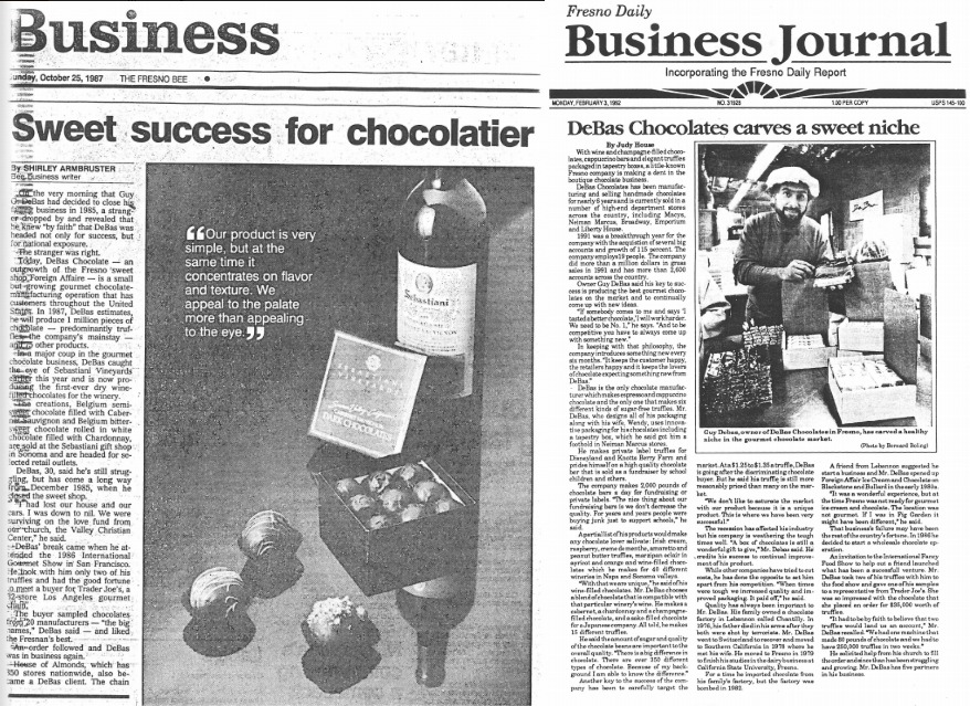 Guy Debbas appears in newspapers after his chocolate business success.