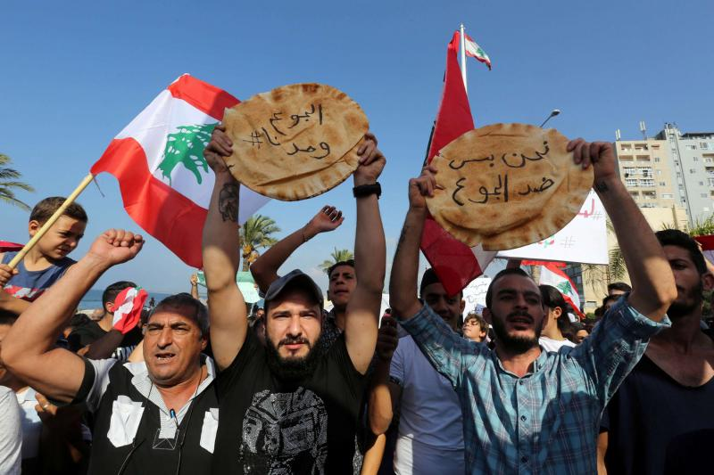 An anti-government protest in Tyre, Lebanon.