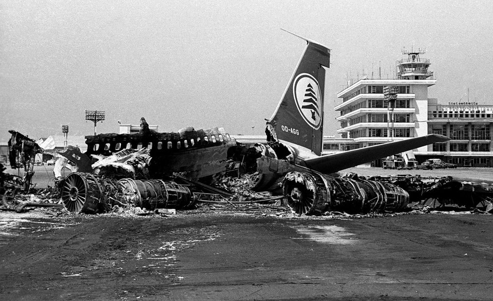 The aftermath of the 1968 Israeli raid on Beirut Airport.