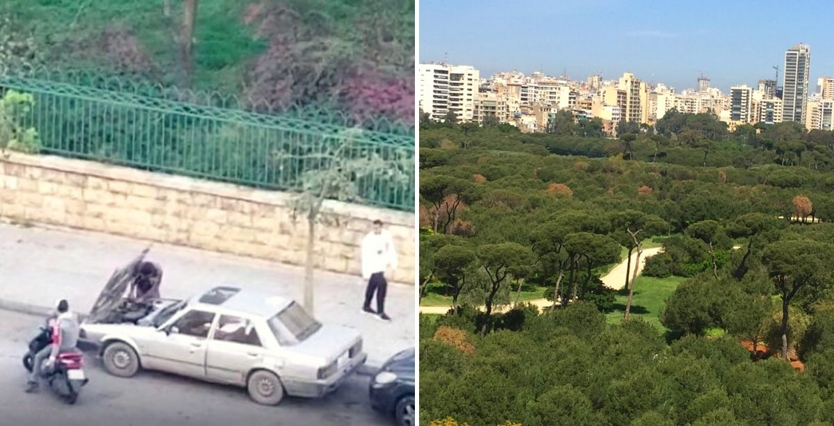 Thieves Steal Battery From Parked Car In Plain Sight In Beirut.