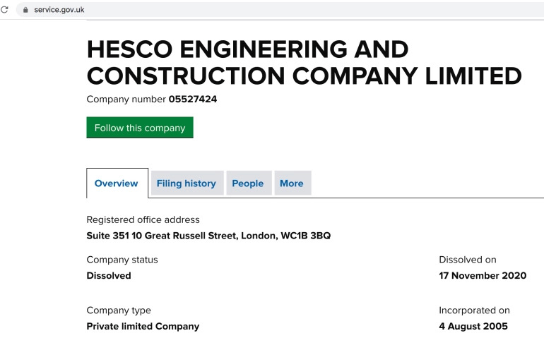 Hesco Engineering and Construction was dissolved in November 2020, nearly 3 months after the Beirut Port explosion.