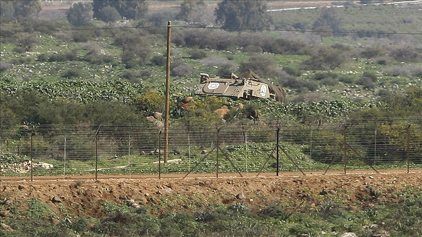 An Israeli military vehicle on the border with Lebanon.