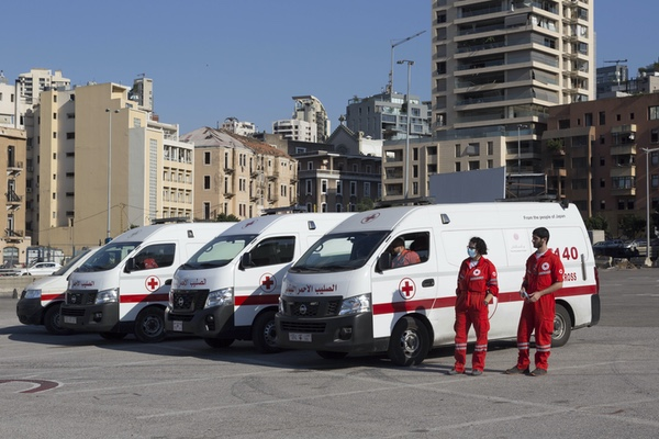 Lebanese Red Cross paramedics in Martyrs' Square.