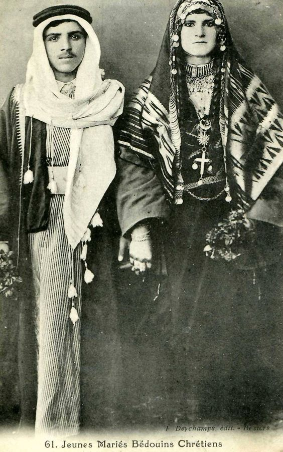 Newly-wed Christian Bedouins from Lebanon pose for a picture in 1923.