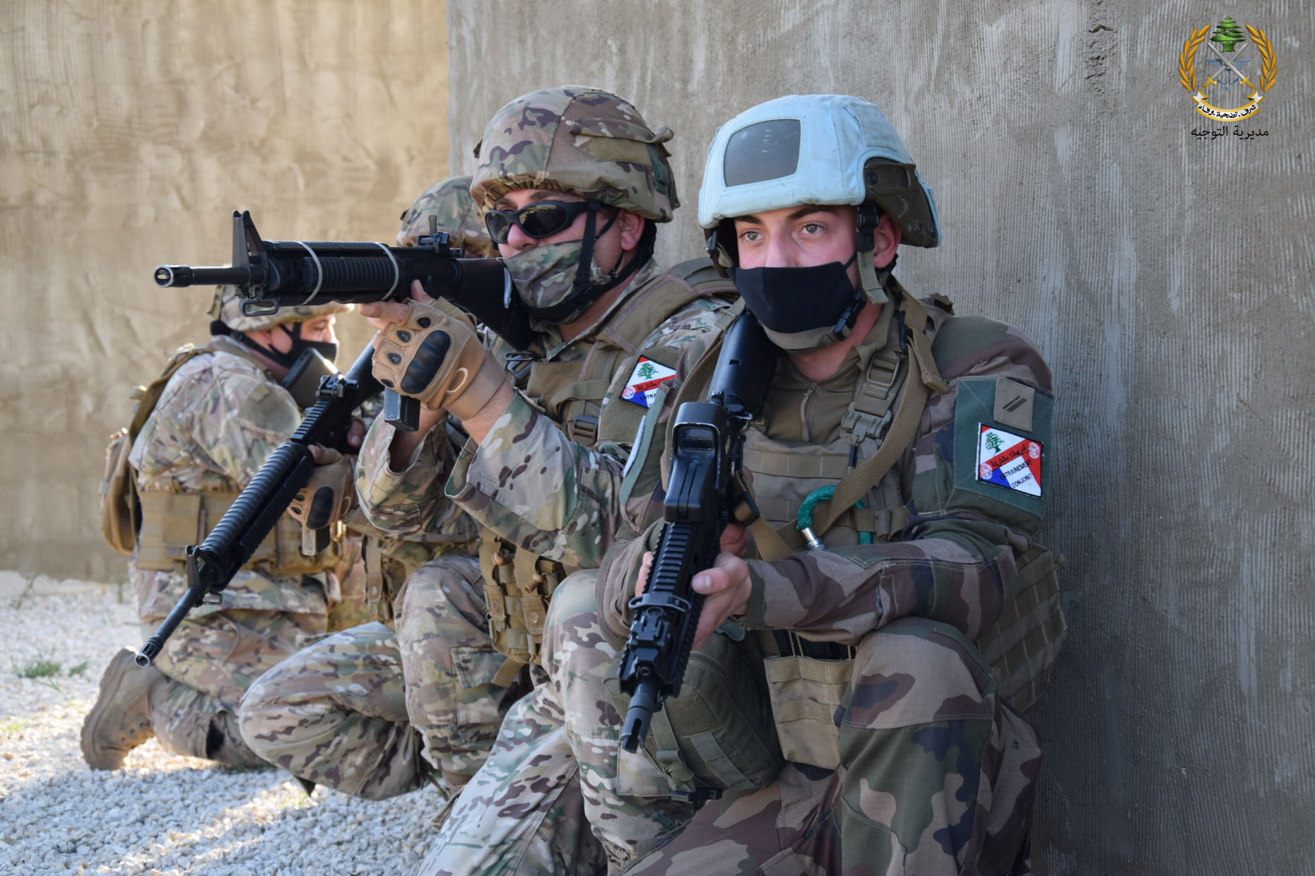 Lebanese and French troops underwent urban combat training.