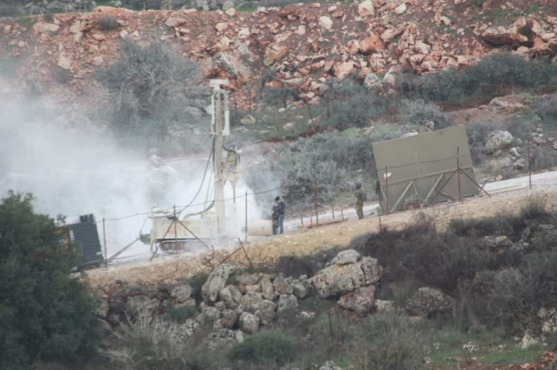 An Israeli force digging in Abbarah in 2018.
