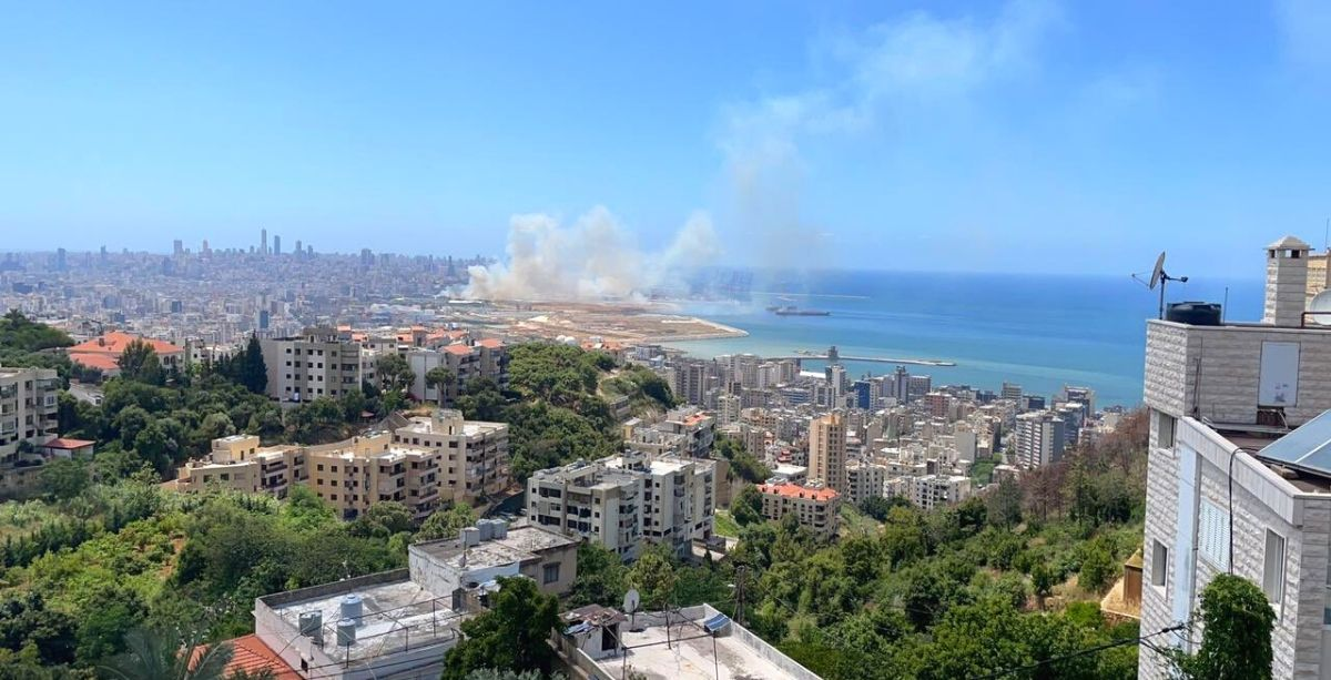 A Large Fire Broke Out Near The Port Of Beirut