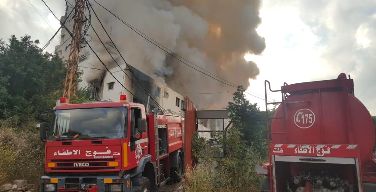 Beirut Fire Brigade Is Fighting A Large Fire That Broke Out In Carpenter's Shop