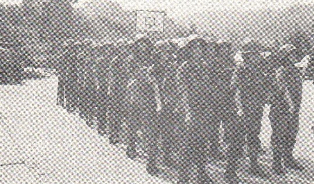 Lebanese female soldiers performing a military march in the '90s.
