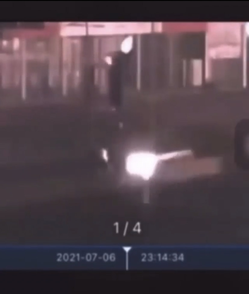This screenshot, taken from CCTV footage, shows the car that hit Maurice Sawma on the Byblos Highway on Tuesday night.