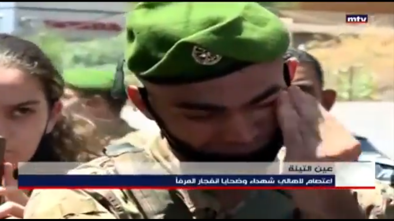 A soldier was filmed wiping his tears as he listened to a speech by one of the family members at the protest.