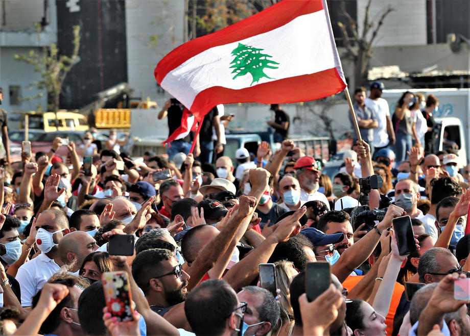 Protesters gather near the Port of Beirut on August 11th, 2020.